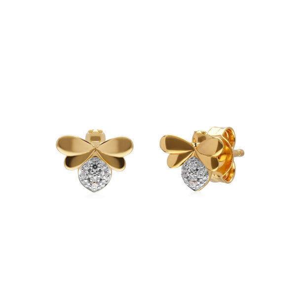 Honeycomb Inspired Diamond Bee Earrings in 9ct Yellow Gold