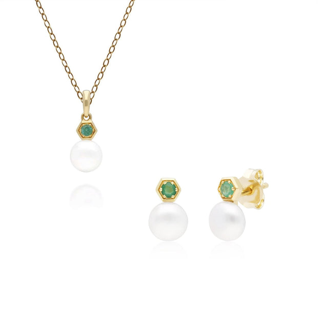 Modern Pearl & Emerald Pendant & Earring Set in 9ct Yellow Gold