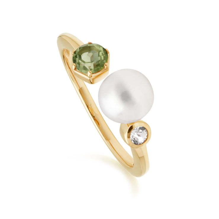 Modern Pearl, Peridot & Topaz Open Ring in Gold Plated Sterling Silver