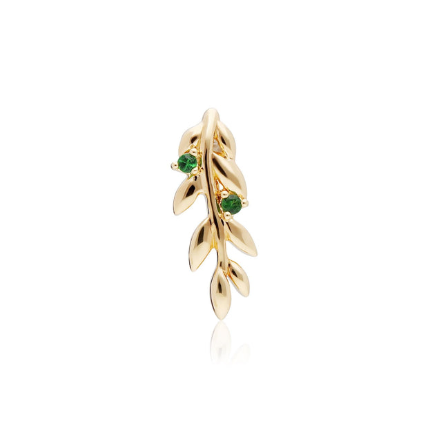 O Leaf Tsavorite Pendant in Gold Plated Sterling Silver