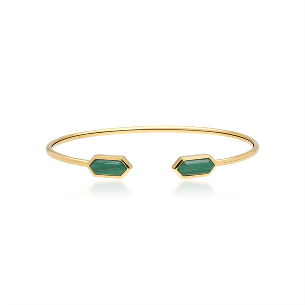 Geometric Malachite Open Bangle in Gold Plated Sterling Silver