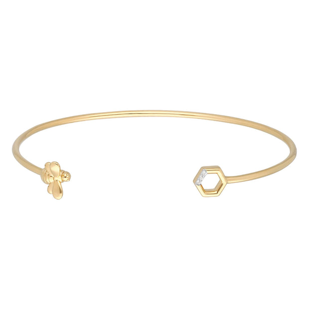 Honeycomb Inspired Diamond Hexagon Bee Bangle in 9ct Yellow Gold
