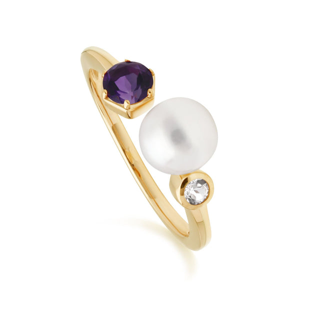 Modern Pearl, Amethyst & Topaz Open Ring in Gold Plated Sterling Silver
