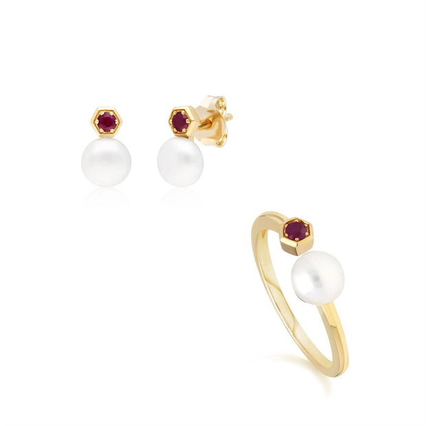 Modern Pearl & Ruby Earring & Ring Set in 9ct Yellow Gold