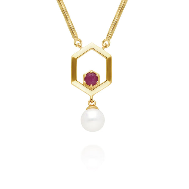 Modern Pearl & Ruby Hexagon Drop Necklace in Gold Plated Sterling Silver