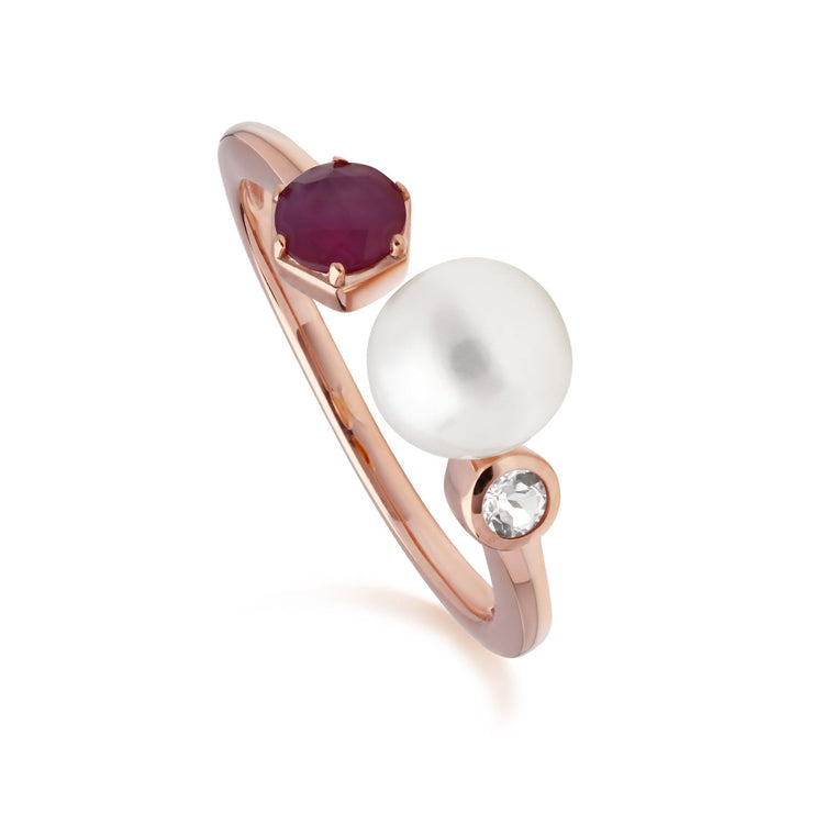 Modern Pearl, Ruby & Topaz Open Ring in Rose Gold Plated Sterling Silver