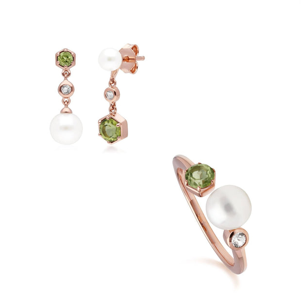Modern Pearl, Peridot & Topaz Earring & Ring Set in Rose Gold Plated Sterling Silver