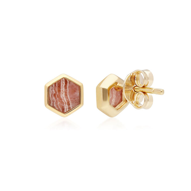 Micro Statement Rhodochrosite Hexagon Stud Earrings in Gold Plated Sterling Silver