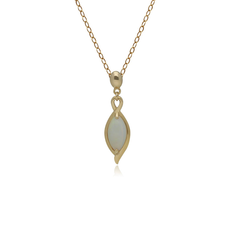 Classic Marquise Opal Drop Pendant in 9ct Yellow Gold