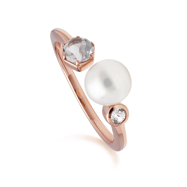 Modern Pearl & White Topaz Open Ring in Rose Gold Plated Sterling Silver