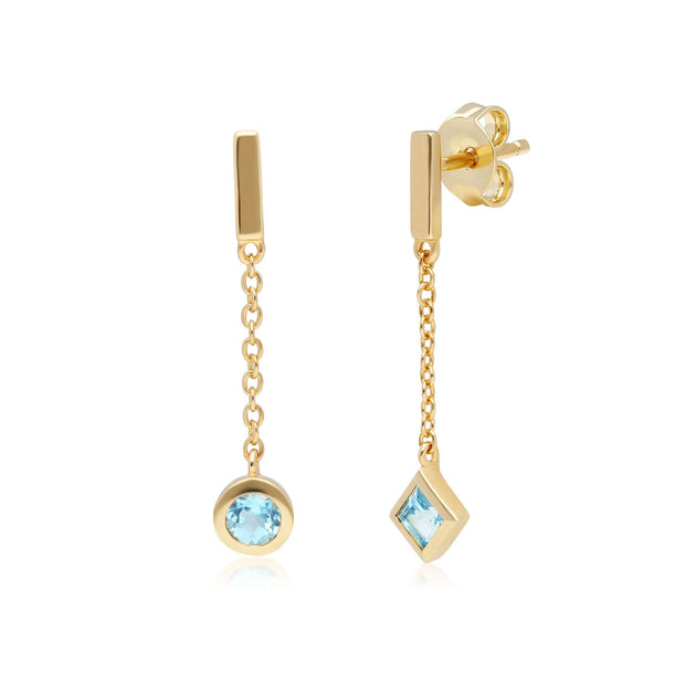 Micro Statement Mismatched Blue Topaz Dangle Earrings in 9ct Yellow Gold
