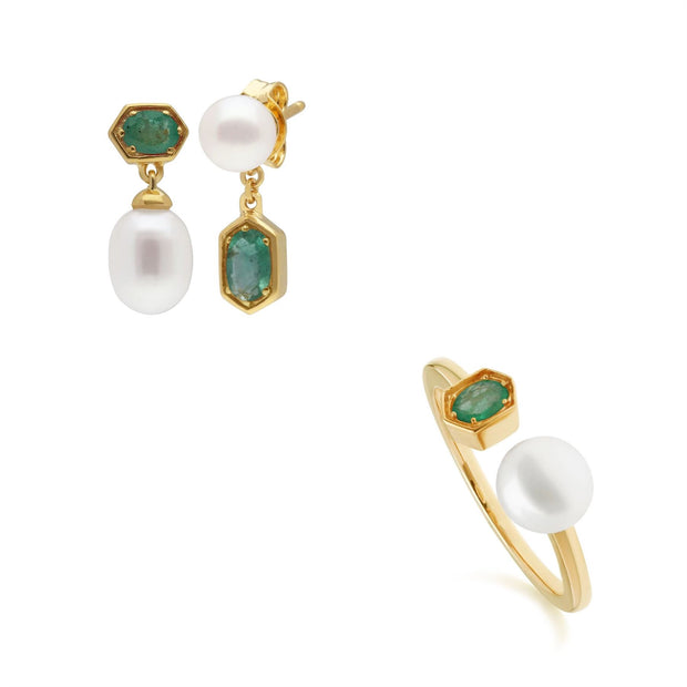 Modern Pearl & Emerald Earring & Ring Set in Gold Plated Sterling Silver