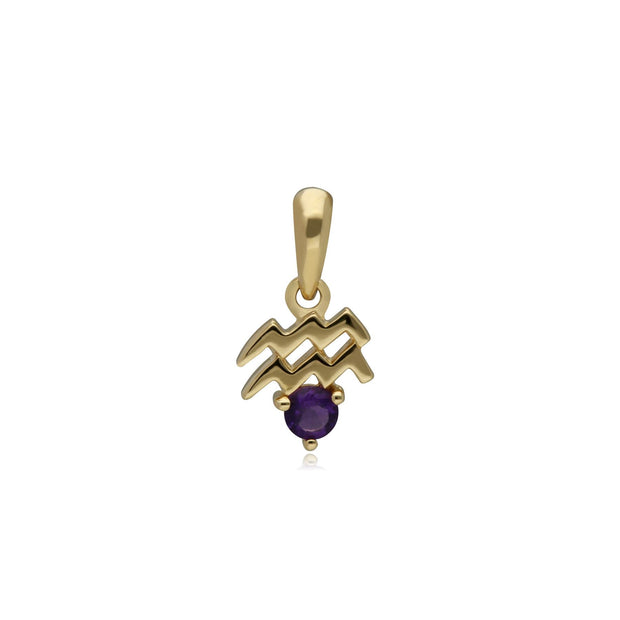 Amethyst Aquarius Zodiac Charm Necklace in 9ct Yellow Gold