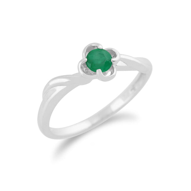 Gemondo 9ct White Gold 0.23ct Emerald Floral Ring