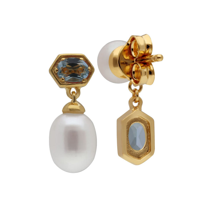 Modern Pearl & Blue Topaz Mismatched Drop Earrings in Gold Plated Sterling Silver