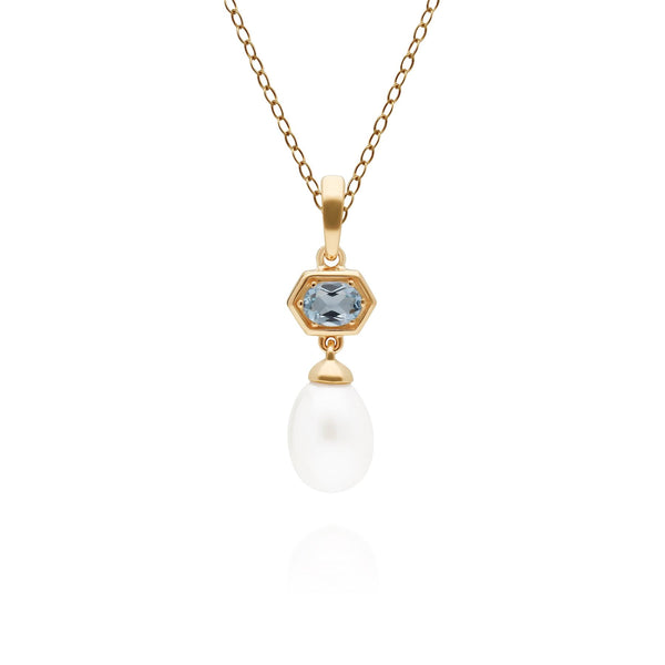 Modern Pearl & Blue Topaz Hexagon Drop Pendant in Gold Plated Sterling Silver