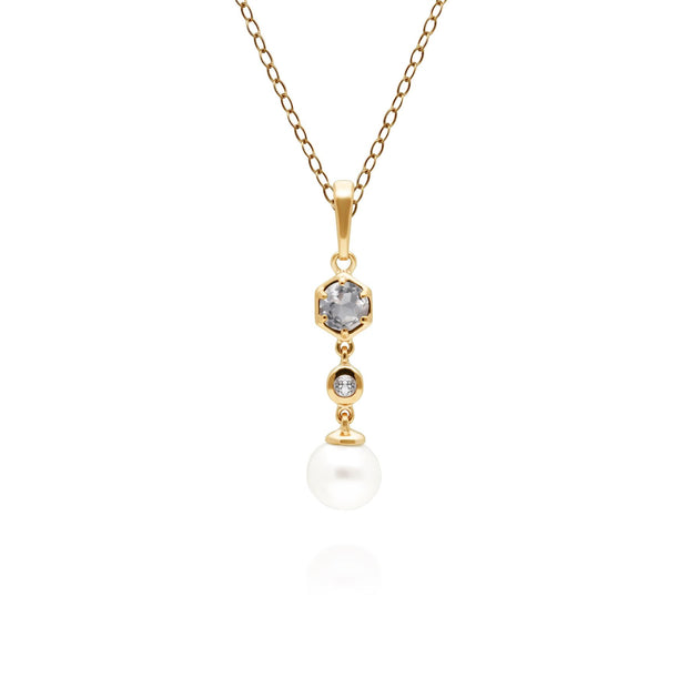 Modern Pearl & White Topaz Drop Pendant in Gold Plated Sterling Silver