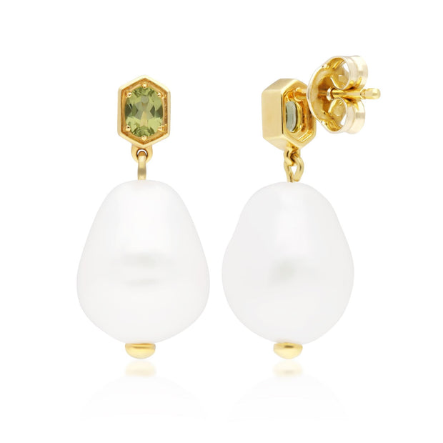 Modern Baroque Pearl & Peridot Drop Earrings in Gold Plated 925 Sterling Silver
