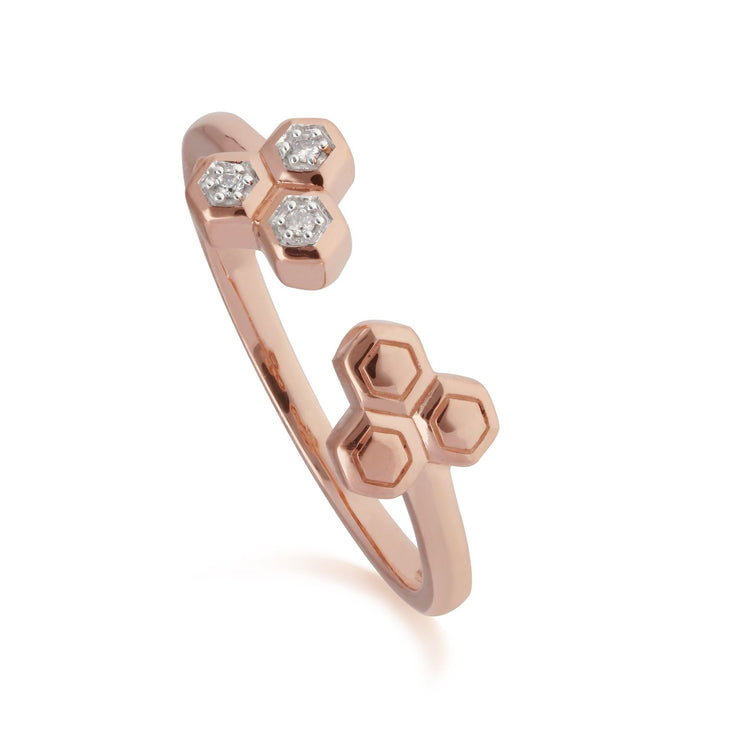 Diamond Trilogy Open Ring in 9ct Rose Gold