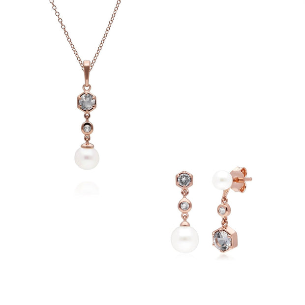 Modern Pearl & White Topaz Pendant & Earring Set in Rose Gold Plated Sterling Silver