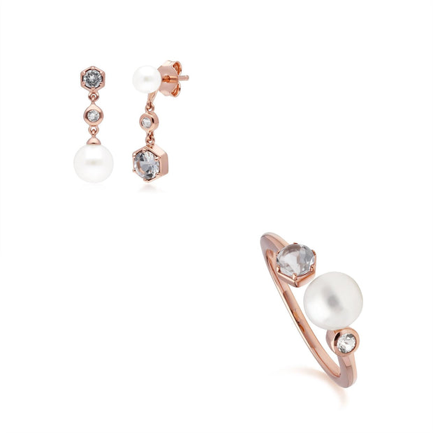 Modern Pearl & White Topaz Earring & Ring Set in Rose Gold Plated Sterling Silver