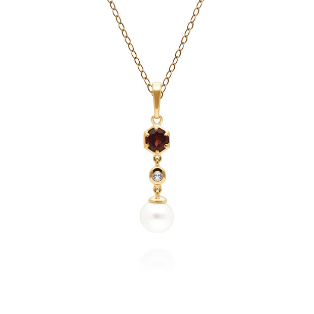 Modern Pearl, Garnet & Topaz Drop Pendant in Gold Plated Sterling Silver