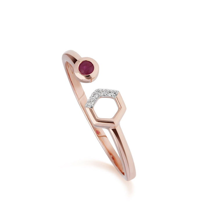Contemporary Ruby & Diamond Hexagon Open Ring in 9ct Rose Gold