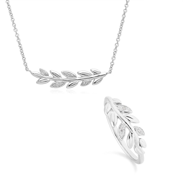 O Leaf Diamond Necklace & Ring Set in 9ct White Gold
