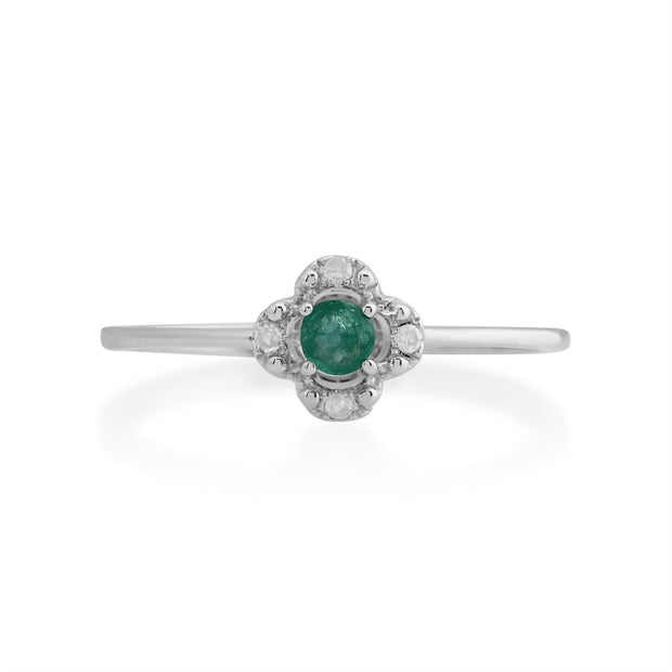 Gemondo 925 Sterling Silver 0.18ct Emerald Ring