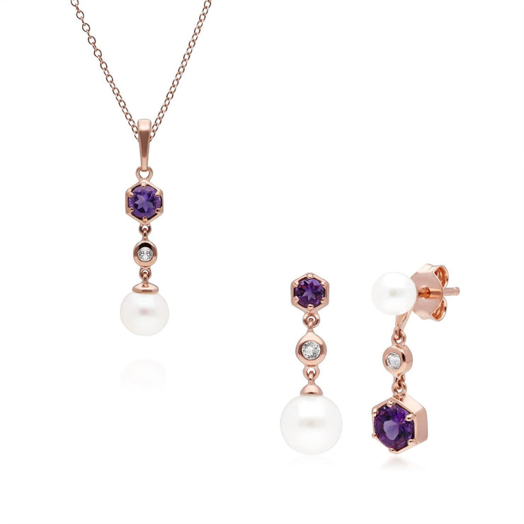 Modern Pearl, Amethyst & Topaz Pendant & Earring Set in Rose Gold Plated Sterling Silver