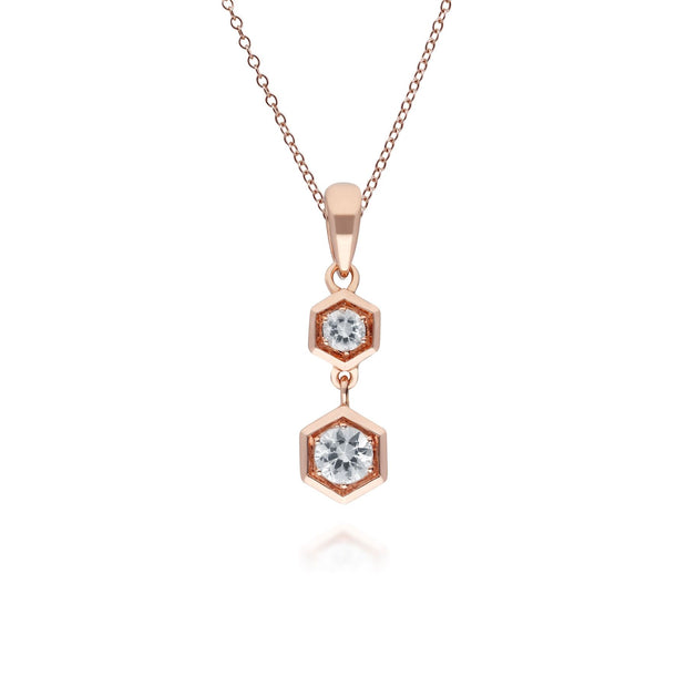 Honeycomb Inspired Clear Sapphire Pendant Necklace in 9ct Rose Gold