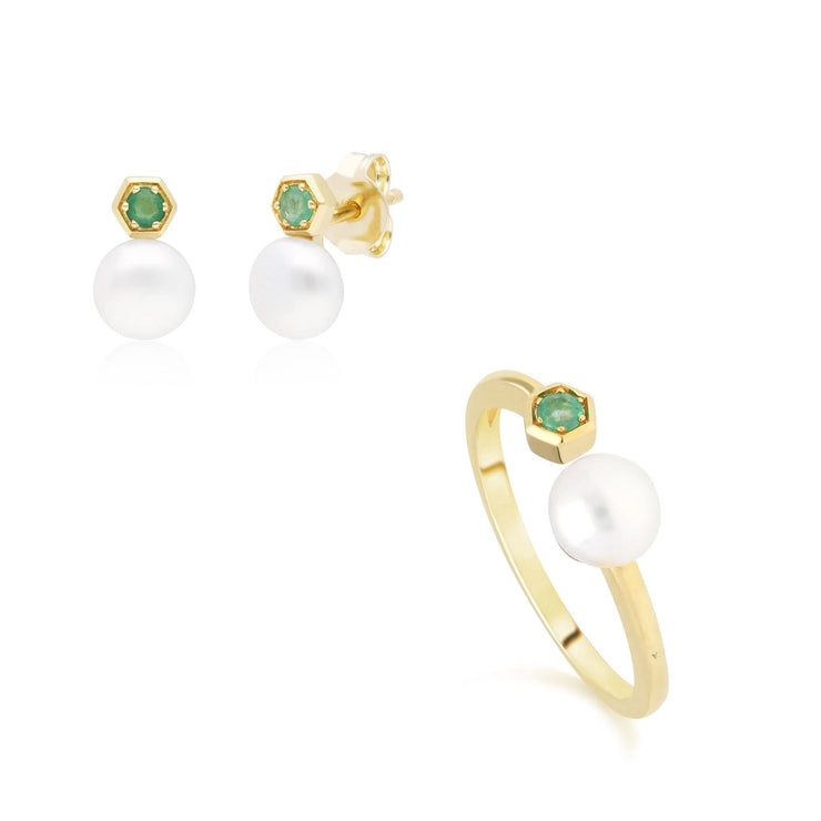 Modern Pearl & Emerald Earring & Ring Set in 9ct Yellow Gold
