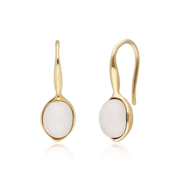 Irregular B Gem Moonstone Drop Earrings in Yellow Gold Plated Sterling Silver