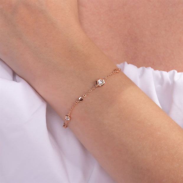 Honeycomb Inspired Clear Sapphire Link Bracelet in 9ct Rose Gold