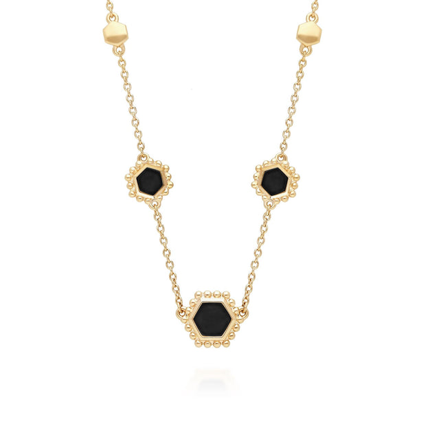 Black Onyx Flat Slice Hex Chain Necklace in Gold Plated Sterling Silver