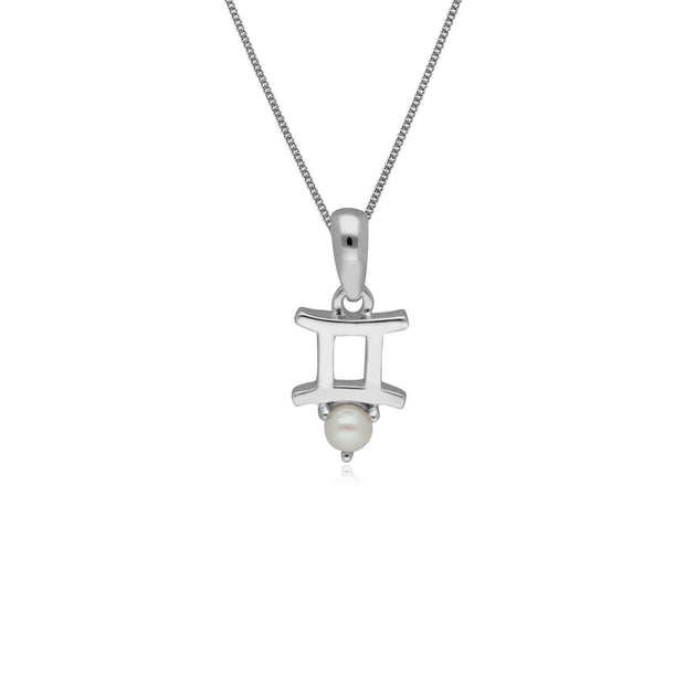 Pearl Gemini Zodiac Charm Necklace in 9ct White Gold