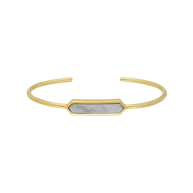 Geometric Prism Blue Lace Agate Bangle in Gold Plated Sterling Silver