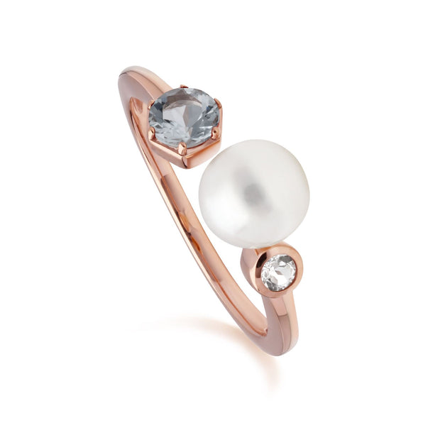 Modern Pearl, Aquamarine & Topaz Open Ring in Rose Gold Plated Sterling Silver