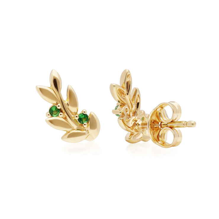 O Leaf Tsavorite Stud Earrings in Gold Plated Sterling Silver