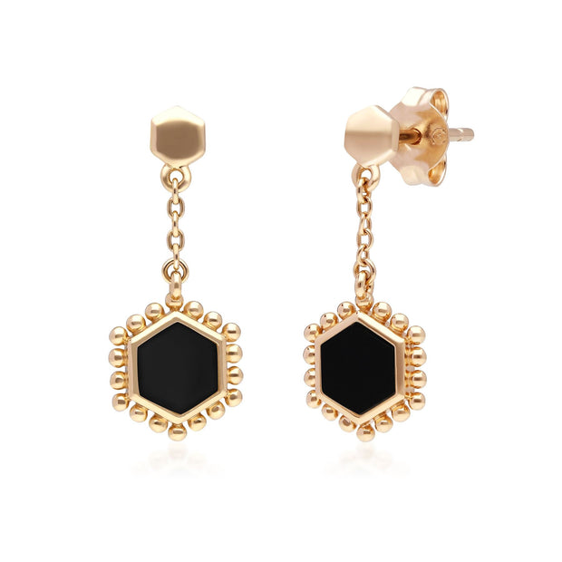 Black Onyx Flat Slice Hex Drop Earrings in Gold Plated Sterling Silver