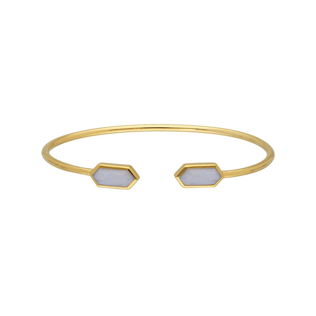 Geometric Blue Lace Agate Open Bangle in Gold Plated Sterling Silver
