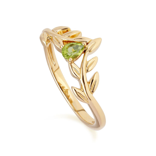 O Leaf Peridot Wishbone Ring in 9ct Yellow Gold