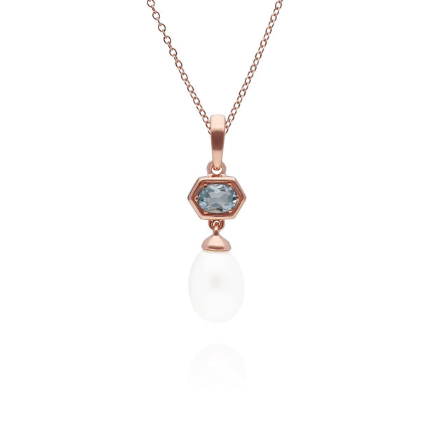 Modern Pearl & Aquamarine Hexagon Drop Pendant in Rose Gold Plated Sterling Silver