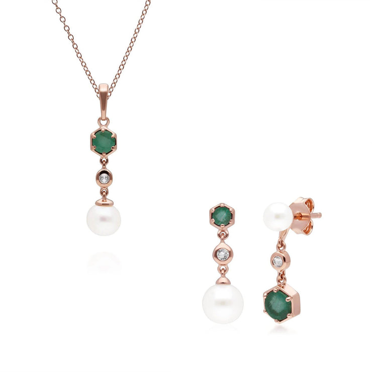 Modern Pearl, Emerald & Topaz Pendant & Earring Set in Rose Gold Plated Sterling Silver