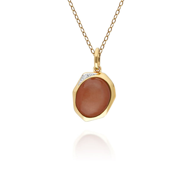 Irregular B Gem Dyed Red Jade & Diamond Pendant in Gold Plated Sterling Silver