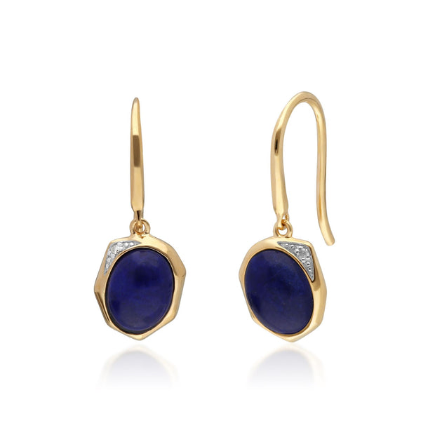 Irregular B Gem Lapis Lazuli & Diamond Drop Earrings in Gold Plated Sterling Silver