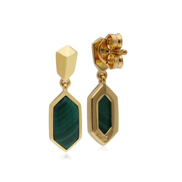 Micro Statement Malachite Drop Earrings in 925 Sterling Silver