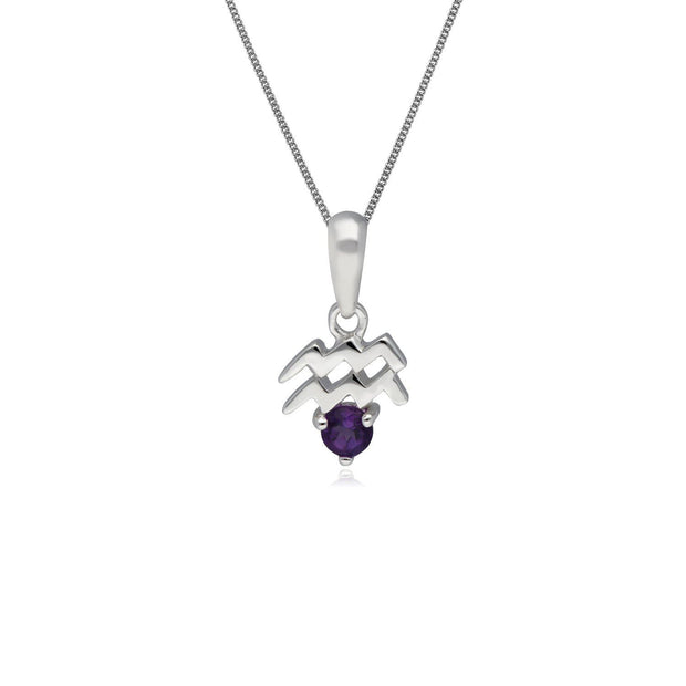 Amethyst Aquarius Zodiac Charm Necklace in 9ct White Gold