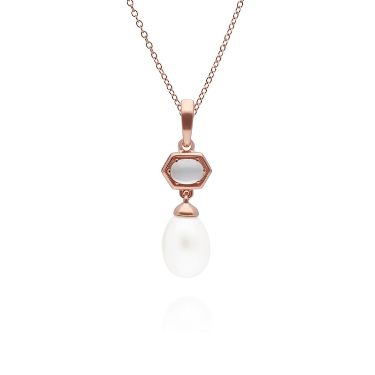 Modern Pearl & Moonstone Hexagon Drop Pendant in Gold Plated 925 Sterling Silver