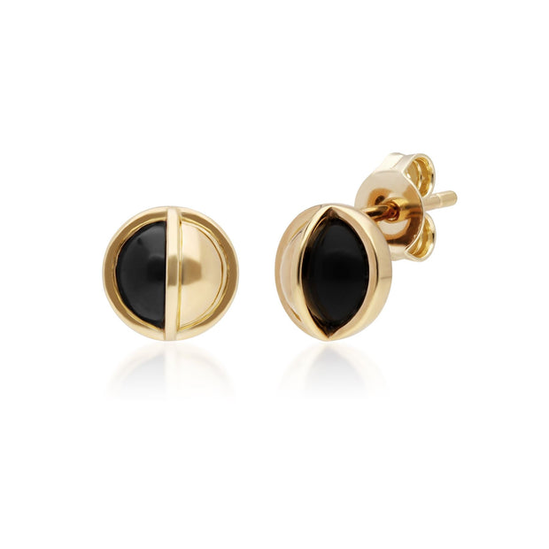 Micro Statement Round Onyx Stud Earrings in Gold Plated Sterling Silver